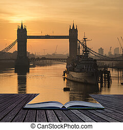 Beautiful Autumn Fall  dawn sunrise over River Thames and Tower Bridge in London coming out of pages of book