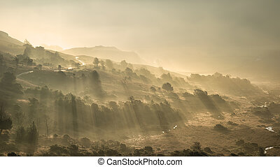 Beautiful Autumn Fall landscape sunrise in the Lake District with sun rays streaming through the fog into The Langdales valley