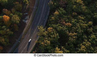 Beautiful autumn forest from a height. Flying over the autumn trees of green, red and yellow in slow motion. Aerial shooting of country road passing between a beautiful fall forest. Road for cars.