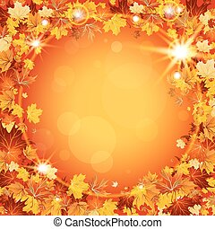 Beautiful autumn frame with maple leaves