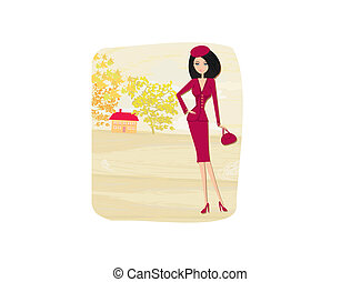 beautiful autumn girl - vector