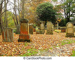 Beautiful autumn in the graveyard