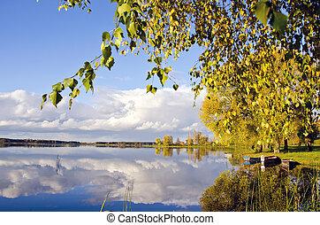 autumn lake sunny landscape in evening