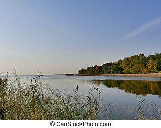 beautiful autumn landscape at river
