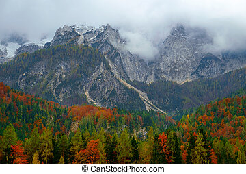 Beautiful autumn landscape at the foot of Mangart mountain...