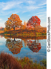Beautiful autumn landscape, forest lake with reflection.