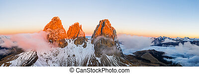 Beautiful autumn landscape in the Dolomites mountains.