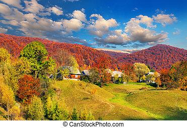 Beautiful autumn landscape in the mountain village