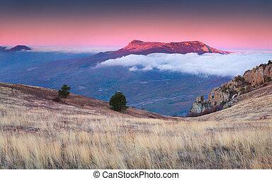 Beautiful autumn landscape in the mountains. Sunrise