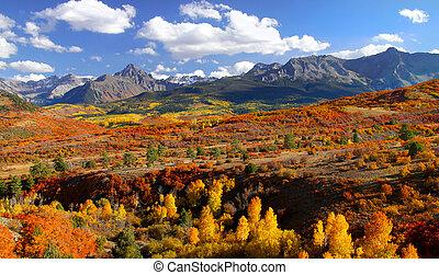 Beautiful Autumn landscape near Dallas divide in Colorado