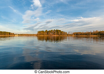 Beautiful autumn landscape on a sunny day at the lake