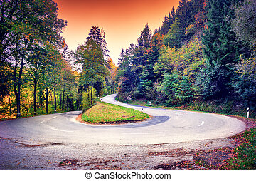 Beautiful autumn landscape with curvy road