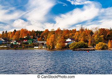 autumn landscape with yellow-orange trees