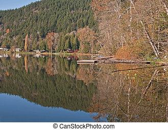 Beautiful Autumn Mountain Reflected in Lake
