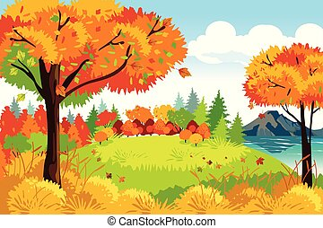 Beautiful Autumn or Fall Season Nature Landscape Background Illustration