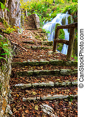 Beautiful autumn scene in Plitvice National Park