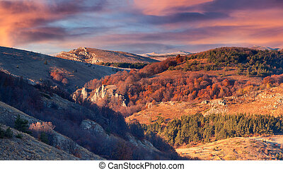 Beautiful autumn sunset in the Crimea mountains.