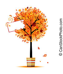 Beautiful autumn tree in pot for your design