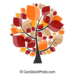 Beautiful Autumn Tree on a White Background Vector Illustration.