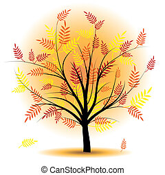 Beautiful autumn tree vector.