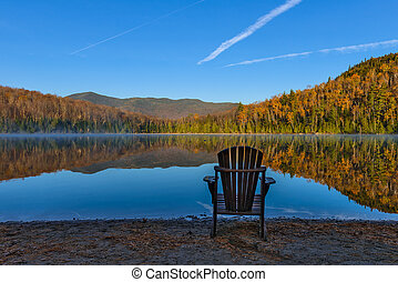 beautiful autumn view of Heart Lake in Lake Placid