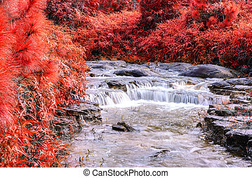 Beautiful autumn waterfall in deep forest.