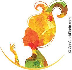 Beautiful autumn woman - Vector illustration of Beautiful...