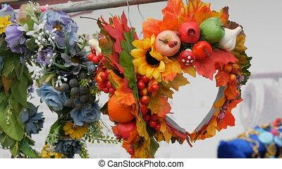 Beautiful autumn wreaths at the fair.