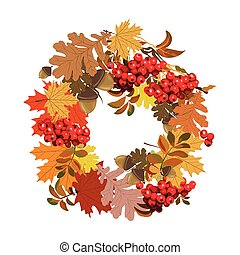 Beautiful autumnal frame with decorations