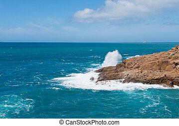 Beautiful azure sea and the rock