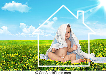 Beautiful baby and house