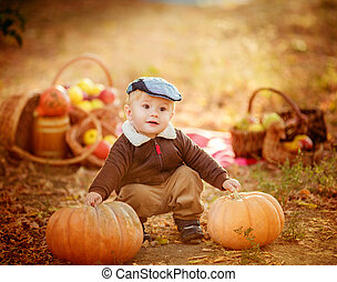 Beautiful baby boy in autumn garden