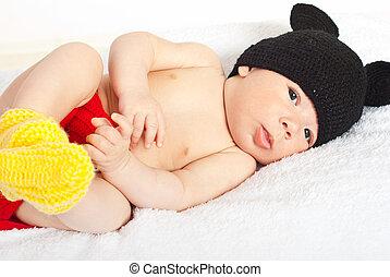 Beautiful baby boy in crochet costume