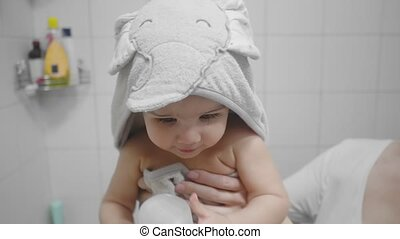 Beautiful Baby Girl After a Bath. Candid, real life footage.