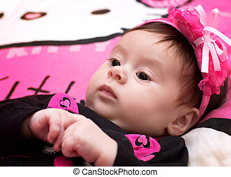 girl on pink background