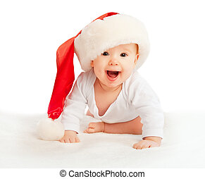 Beautiful baby in a Christmas hat isolated on white