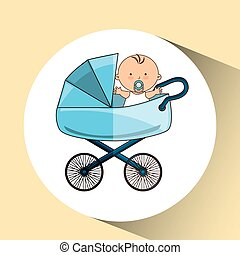 beautiful baby on pram blue design
