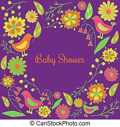 beautiful baby shower invitation card template with leaves, birds and flowers