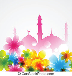 mosque covered with flowers - beautiful background of mosque...
