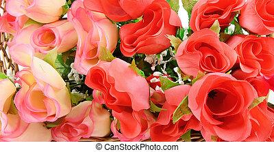 background of silk flowers