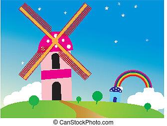 beautiful background of windmill an