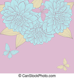 beautiful background with a border of flowers dahlias with leaves and butterflies. Vintage color.