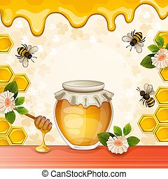 Beautiful background with bees, honey, jar, flowers and honeycomb