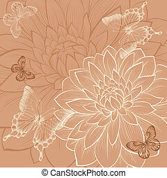 beautiful background with flowers dahlia and butterflies