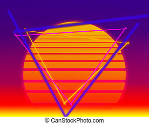background with the evening sun in the style of retro wave on the neon sky and triangles