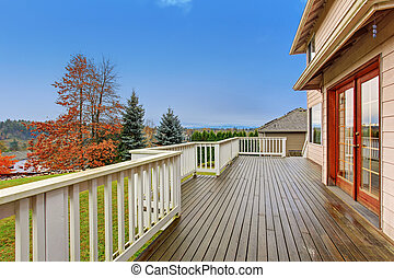 Beautiful backyard with deck.