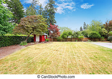 Beautiful backyard with small red shed