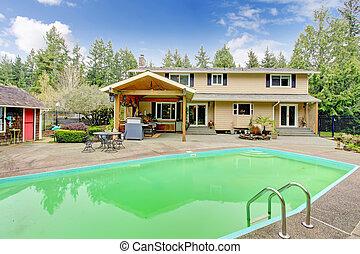Beautiful backyard with swimming pool and patio area