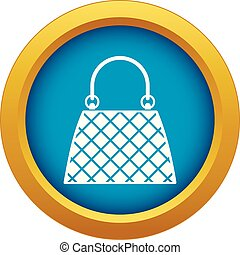 Beautiful bag icon blue vector isolated