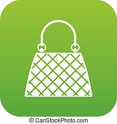 Beautiful bag icon digital green